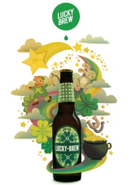 Illustration-based mock ad for Lucky Brew brand beer