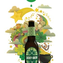 Illustration-based mock ad for Lucky Brew brand beer