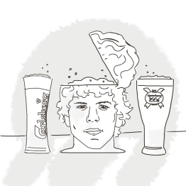 "Illustration for Dan Corber's ""A Few Good Tweets"" : ""Sweet I got my 3 favourite beers: Carlsberg, Kronenbourg and Jesse Eisenberg"""