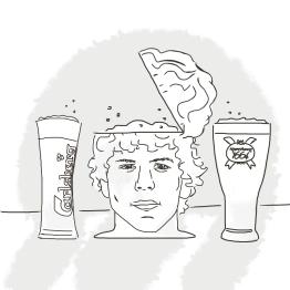 "Illustration for Dan Corber's ""A Few Good Tweets"" : ""Sweet I got my 3 favourite beers: Carlsberg, Kronenbourg and Jesse Eisenberg"""